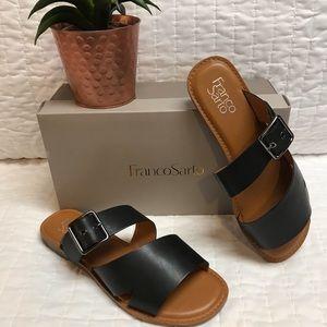 Franco Sarto Gevira Strappy Leather Sandal - Black